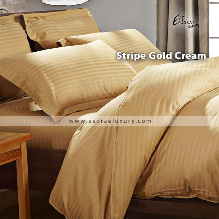 Stripe Gold Cream Duvet Cover & Quilt Comforter