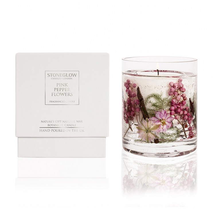 Candle - Pink Pepper Flowers Natural Wax Gel Candle | Nature's Gift