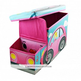 KIDS OTTOMAN PINK GIRLS CAR TOY STORAGE BOX TINYTITANS KIDS STORAGE BOXES