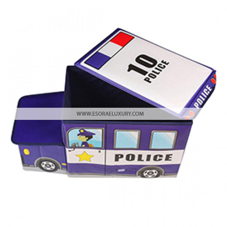 POLICE VAN LARGE KIDS BOYS GIRLS STORAGE TOY PLAY BOX BEDROOM CHAIR BOOK SEAT STOOL CHEST
