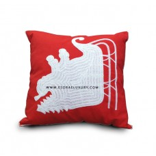 Red Patterned Throw Pillow