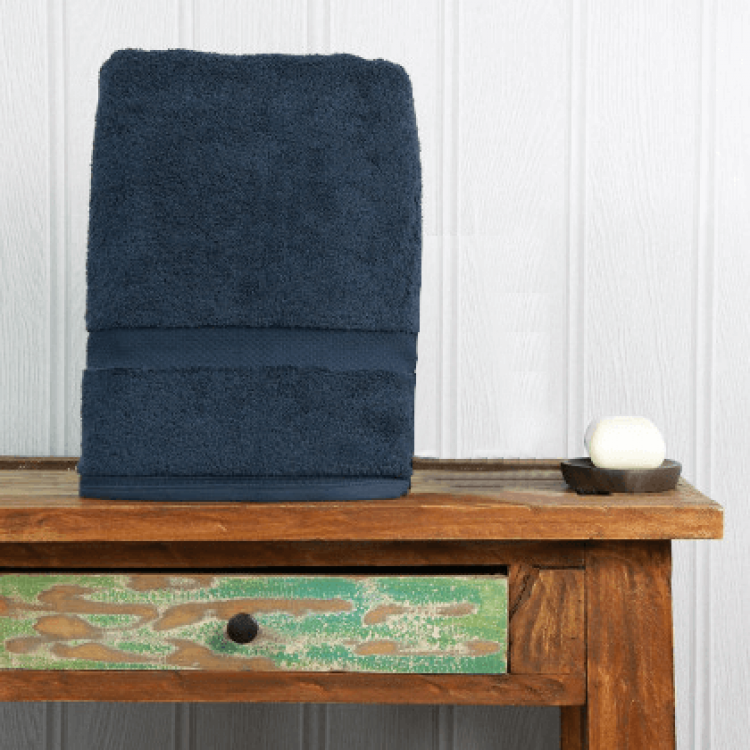 French Navy Luxury Boutique Bath Towel